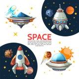 Cartaz colorido do espaço dos desenhos animados Imagens de Stock Royalty Free