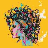 Cartaz colorido hairstyle Menina com ondas ilustração do vetor