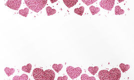 Cartaz com coração de confetes, de sparkles, do brilho e do espaço cor-de-rosa para o texto no fundo branco Fotografia de Stock Royalty Free