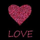Cartaz com cora??o de confetes vermelhos, de sparkles, de brilho e de rotular o dia de Valentim feliz no quadro preto, beira no b ilustração royalty free