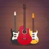 Cartaz com instrumentos musicais Estúdio da música Guitarra Projeto liso Fotografia de Stock Royalty Free