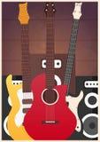 Cartaz com instrumentos musicais Estúdio da música Guitarra Projeto liso Fotos de Stock Royalty Free