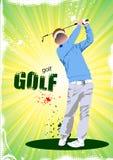 Cartaz com jogadores de golfe ilustração do vetor