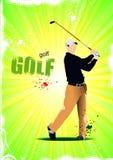 Cartaz com jogadores de golfe ilustração stock