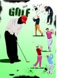 Cartaz com jogadores de golfe ilustração royalty free