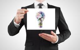 Cartaz com lâmpada Imagens de Stock