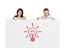 Cartaz com lâmpada Fotos de Stock Royalty Free