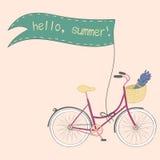 Cartaz com mão bonito a bicicleta tirada da cidade Ilustração do Vetor