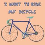 Cartaz com a mão bonito tirada competindo a bicicleta Ilustração Royalty Free