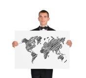 Cartaz com mapa Foto de Stock