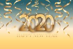 Cartaz com 2020 números e as fitas douradas Elementos din?micos para um inseto, venda do projeto do ano novo feliz, folhetos, apr ilustração stock