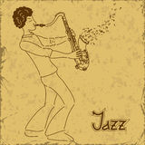 Cartaz com o músico que joga o saxofone Foto de Stock