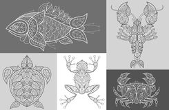 Cartaz com os animais marinhos decorativos ilustração stock