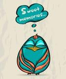 Cartaz com pássaro engraçado. Imagens de Stock