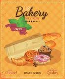 Cartaz com pão, bastão, o baguette francês, o bolo, o bastão e o pretzel Estilo do vintage ilustração royalty free