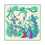 Cartaz com teste padrão floral abstrato Fotografia de Stock Royalty Free
