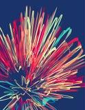 Cartaz com teste padrão retro do vetor da explosão colorida Foto de Stock Royalty Free