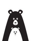 Cartaz com uma imagem de um urso e de pouco urso Fotografia de Stock