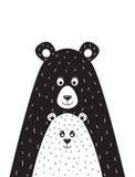 Cartaz com uma imagem de um urso e de pouco urso Imagem de Stock
