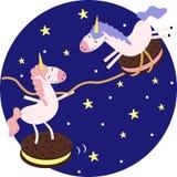 Cartaz com unicórnios e cookies no espaço - ilustração do vetor, eps ilustração stock