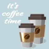 Cartaz com a xícara de café de papel na rotulação do estilo dos desenhos animados Fotos de Stock Royalty Free