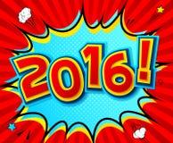 Cartaz criativo 2016 ao estilo da banda desenhada Estilo do pop art ilustração stock
