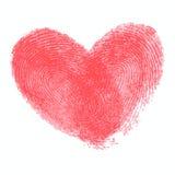 Cartaz criativo com coração dobro da impressão digital Fotos de Stock Royalty Free