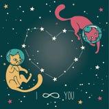 Cartaz cósmico para o amor com os gato-astronautas da garatuja que flutuam no espaço Fotos de Stock Royalty Free