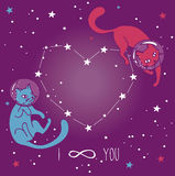 Cartaz cósmico para o amor com os gato-astronautas da garatuja que flutuam no espaço Foto de Stock Royalty Free