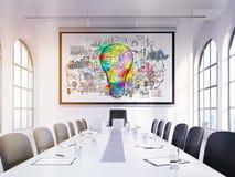 Cartaz da ampola na sala de reuniões Foto de Stock Royalty Free