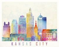 Cartaz da aquarela dos marcos de Kansas City ilustração do vetor