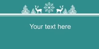 Cartaz da bandeira da Web dos anos novos do Natal Floco da neve dos abeto dos cervos das silhuetas do branco Espaço da cópia da b ilustração stock
