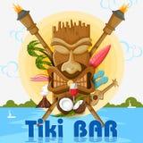 Cartaz da barra de Tiki com máscara tribal Fotos de Stock Royalty Free