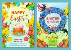 Cartaz da caça do ovo da páscoa, molde do inseto do convite ilustração stock