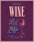 Cartaz da carta de vinhos do vintage. Ilustração do vetor. Fotos de Stock Royalty Free