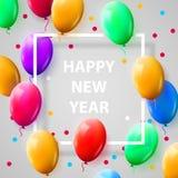 Cartaz da celebração do ano novo com os balões brilhantes no fundo branco com quadro quadrado Fotografia de Stock