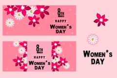 Cartaz da celebração do dia do ` s das mulheres, projeto da bandeira com flor colorida Fotos de Stock