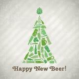 Cartaz da cerveja da árvore de Natal do vetor Fotografia de Stock Royalty Free