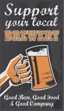 Cartaz da cerveja da cervejaria do vintage - ilustração do vetor do quadro Imagens de Stock