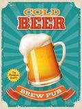 Cartaz da cerveja fria do vetor com ilustra??o detalhada alta da caneca de cerveja ilustração royalty free