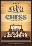 Cartaz da competição da xadrez do vintage ilustração do vetor