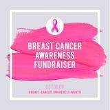 Cartaz da conscientização do câncer da mama Câncer cor-de-rosa criativo do símbolo da fita do curso e da seda da escova ilustração stock