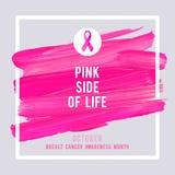 Cartaz da conscientização do câncer da mama Câncer cor-de-rosa criativo do símbolo da fita do curso e da seda da escova Imagens de Stock