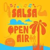 Cartaz da dança da salsa para o partido Pares cubanos, palmas, instrumentos musicais Imagem de Stock