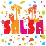 Cartaz da dança da salsa para o partido Pares cubanos, palmas, instrumentos musicais Fotografia de Stock Royalty Free