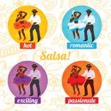 Cartaz da dança da salsa para o partido Pares cubanos, palmas, instrumentos musicais Foto de Stock