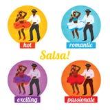 Cartaz da dança da salsa para o partido Pares cubanos, palmas, instrumentos musicais Foto de Stock Royalty Free