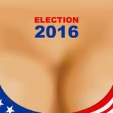 Cartaz da eleição presidencial de 2016 EUA Sutiã do peito da mulher Fotos de Stock Royalty Free