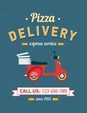 Cartaz da entrega da pizza do vintage com a bicicleta vermelha do moto Imagem de Stock Royalty Free
