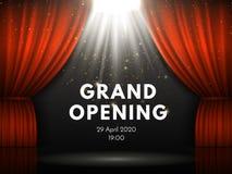 Cartaz da grande inauguração com as cortinas vermelhas na fase do teatro A cortina do teatro, as faíscas do ouro e o projetor irr ilustração stock